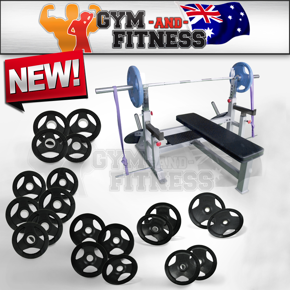 200kg Barbell Weight Set Olympic Flat Bench Press Commercial Gym Home Fitness Ebay