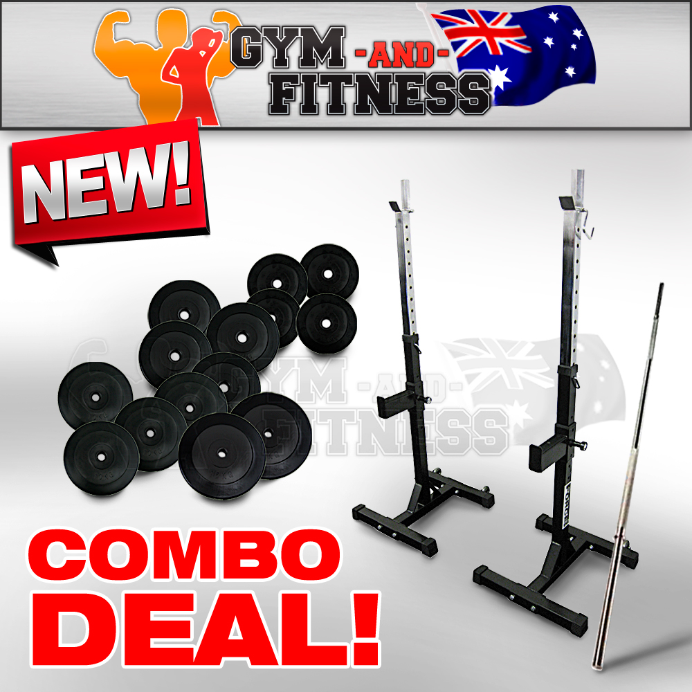 Force usa squat rack stand pair rack 100kg barbell weight for Squat rack set